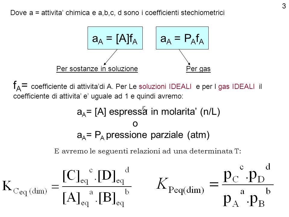 3 Dove a = attivita' chimica e a,b,c, d sono i coefficienti stechiometrici. aA = [A]fA. aA = PAfA.